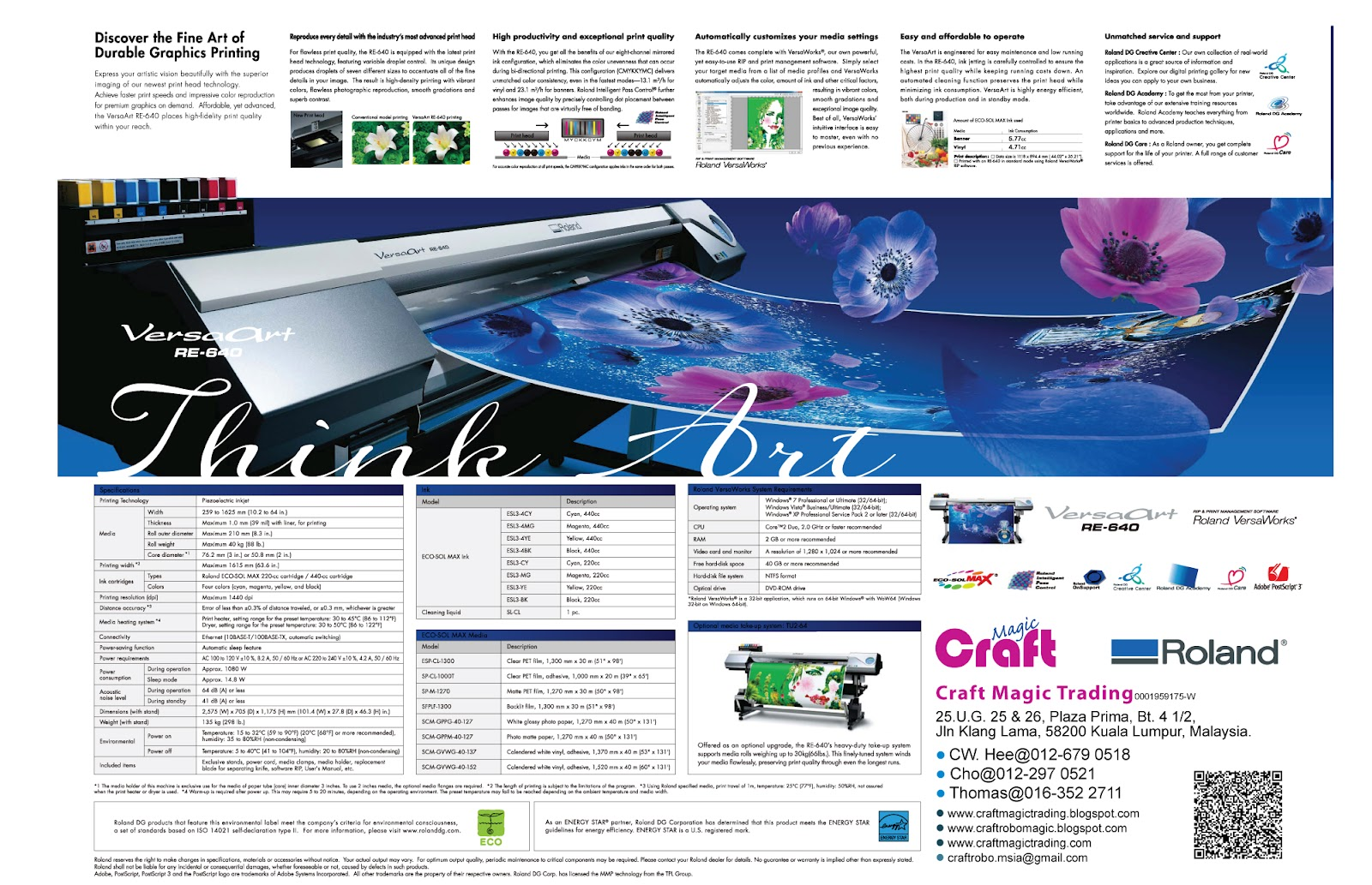 Craft Magic Global Marketing: VersaArt RE-640 Large Format Inkjet