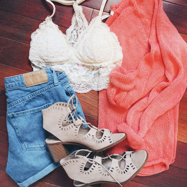 coral knit sweater lace bralette denim shorts lace up sandals