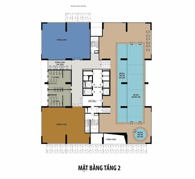 Mặt bằng tầng 2 chung cư 283 Khương Trung