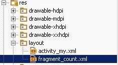 El layout autogenerado del fragmento