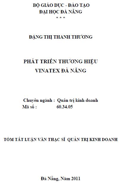 Phát triển thương hiệu vinatex Đà Nẵng