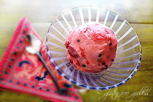 Non-dairy strawberry chocolate chip sherbet