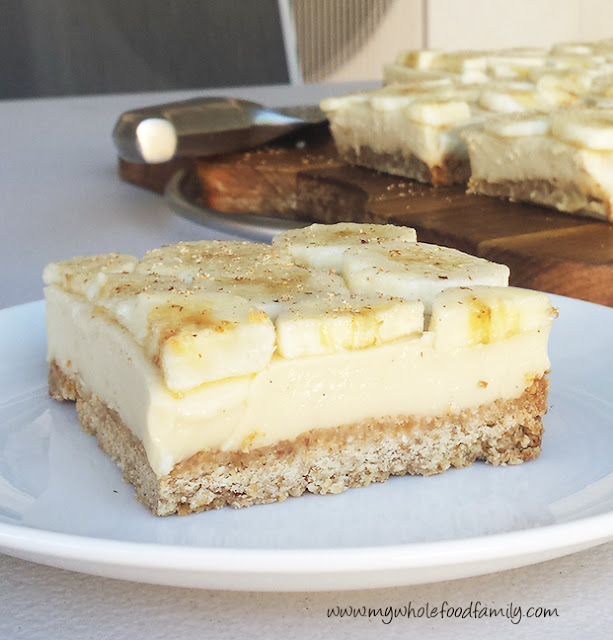 Banana custard slice - gluten, dairy and refined sugar free - www.mywholefoodfamily.com