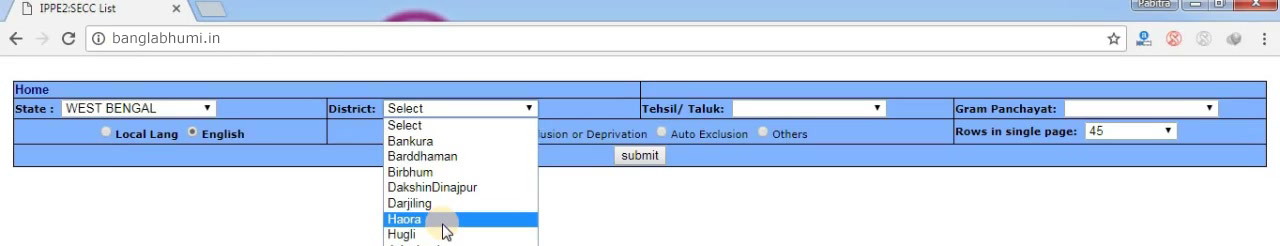 West Bengal SECC 2011 List Download | Step 2