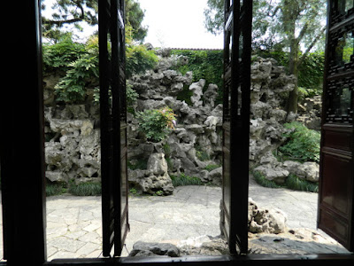 Framed view of rockery at Lingering Garden Suzhou China by garden muses-not another Toronto gardening blog