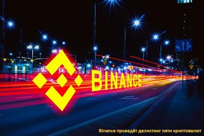 Binance проведёт делистинг пяти криптовалют