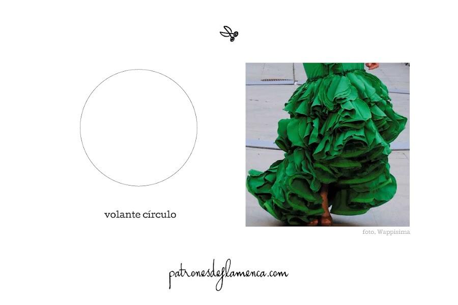 Patrón de volante círculo - patrones de flamenca
