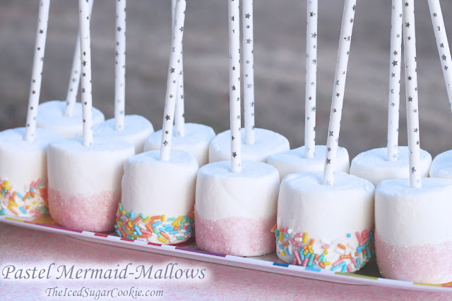 Pastel Mermaid-Mallows Mermaid Birthday Party Food Ideas-www.DIYBirthdayBlog.com