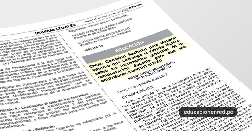 MINEDU: Docentes ganarían equivalente a una UIT al 2021, según comisión creada para elaborar estudio técnico (R. M. Nº 700-2017-MINEDU) www.minedu.gob.pe