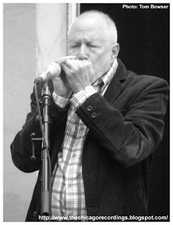 Chicago Blues musician Corky Siegel playing his harmonica during the Chamber Monday concert series in the Chicago Cultural Center | Photograph by Tom Bowser