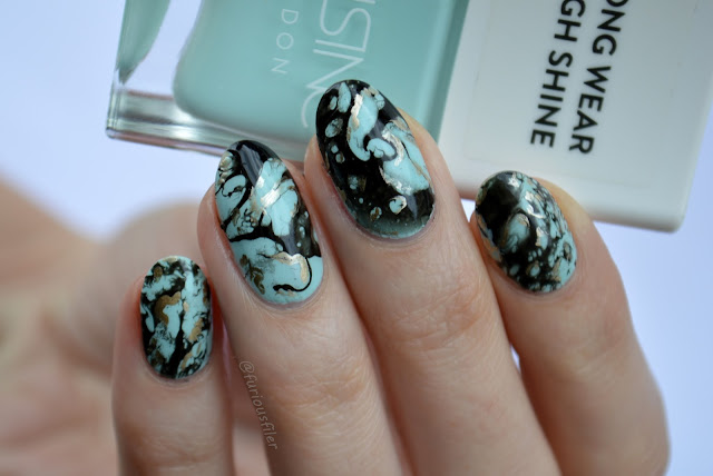 spray water marble nail art furious filer turquoise