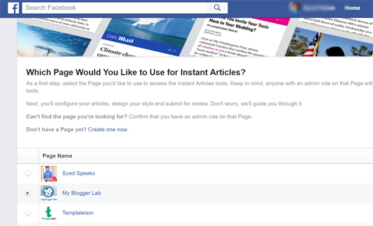 Select your page to add Facebook Instant Articles