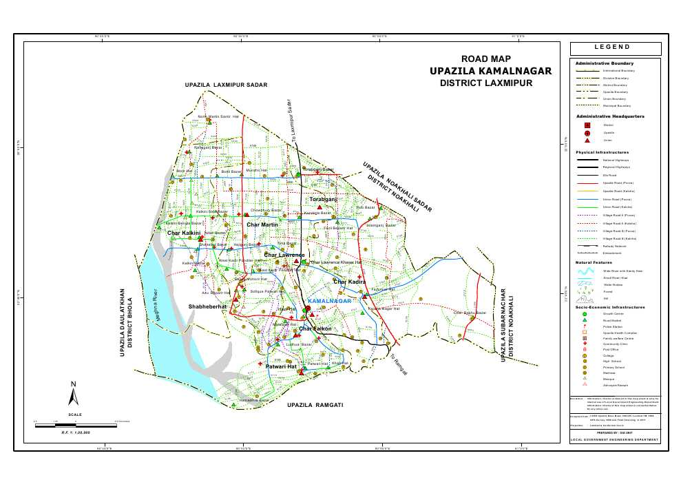 Kamalnagar Upazila Road Map Lakshmipur District Bangladesh