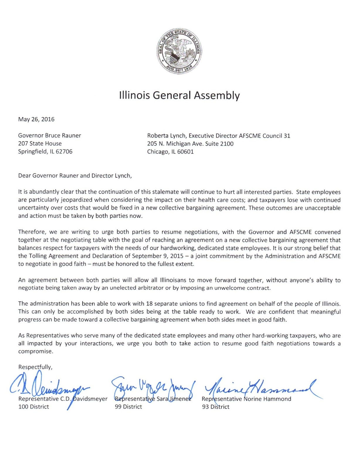 Bourne Sends Letter To Governor Bruce Rauner And AFSCME Requesting Both  Sides To Return To The Table For Thoughtful, Good Faith Negotiations.  Good Faith Letter