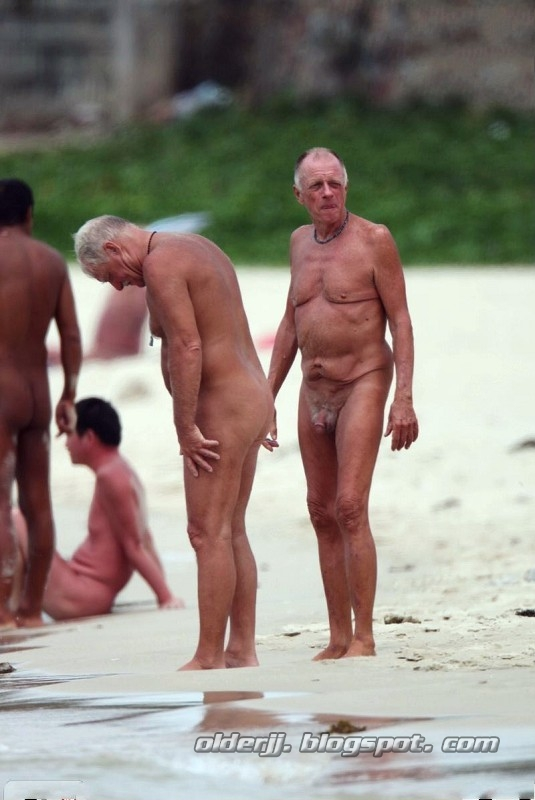 Naked old men on the beach