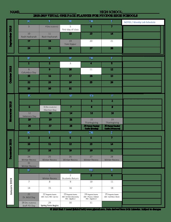 2018-2019 School Year One Page Visual High School Planner #BacktoSchool