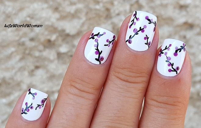 Life World Women Dotting Tool Purple Floral Nail Art