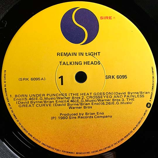 "Vinilo de ""Remain in Light"" de 1980"