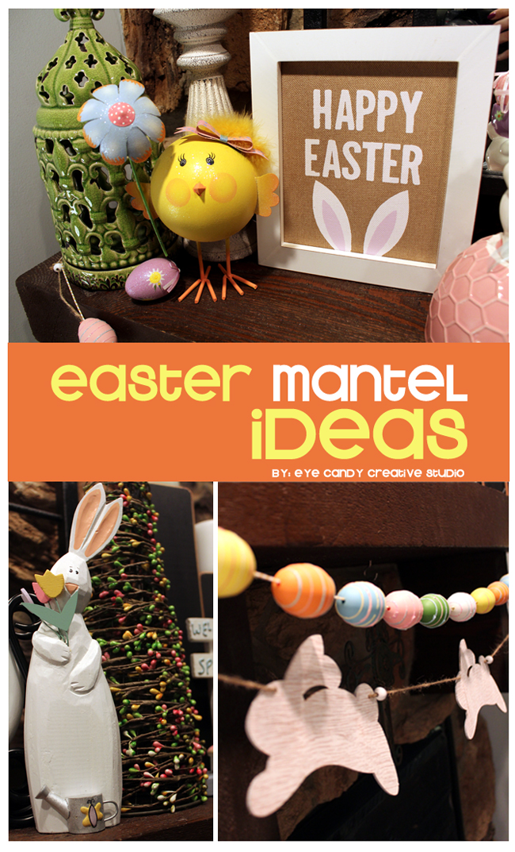 spring, easter mantel, easter bunny, easter egg garland, easter chick