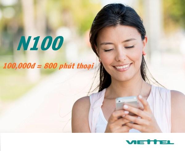 Đăng ký gọi với gói cước N100 Viettel 800 phút khuyến mãi