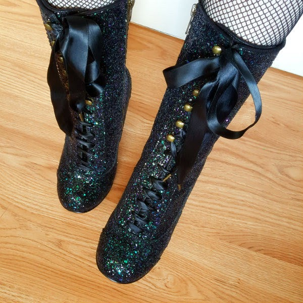 rounded toe glitter boots with ribbon lacing