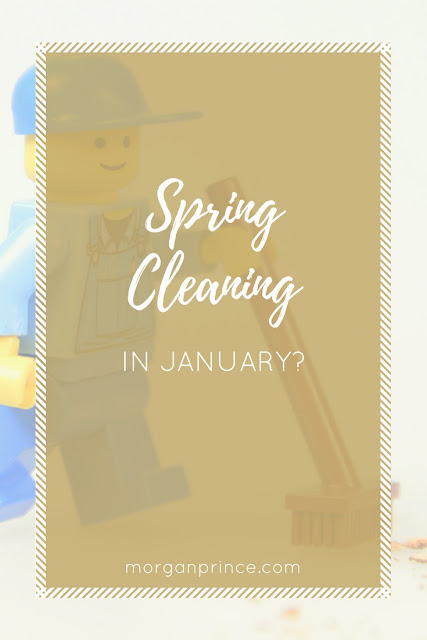 "lego minifig doing cleaning with the words ""spring cleaning in January"" over the top"