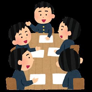 学生の会議のイラスト(学ランとセーラー服・笑顔・男性)
