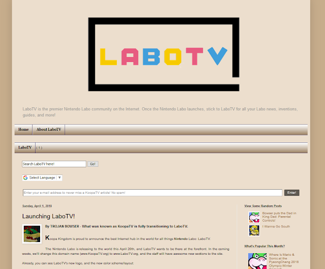 Launching LaboTV on KoopaTV article brown cardboard Nintendo Labo