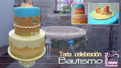 Tarta personalizada fondant bautismo bautizo Laia's Cupcakes Puerto Sagunto