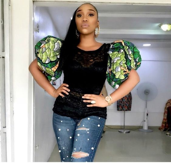 e68d3bf7ff ... in looking for the perfect African print to buy or make for your jean  pants.Below are stylish and trendy ankara tops to wear with jeans outfit.