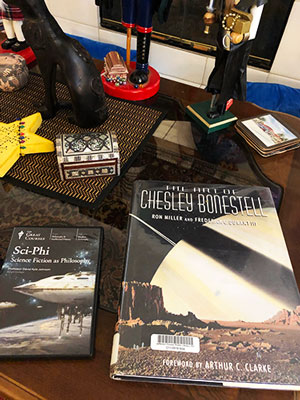 "Finally put the copy of ""The Art of Chesley Bonestell on the coffee table (Source: Palmia Observatory)"