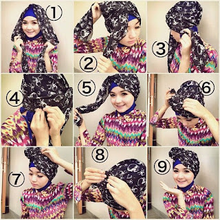 Cara Memakai Hijab Kerudung Segi Empat Turban