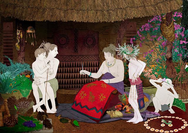 aguja, mujeres, coser, cabaña. eneolitico, calcolitico