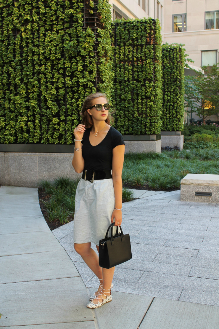 black top and midi skirt for a chic city look