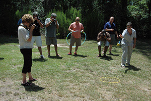 Using lawn darts, teachers try to capture motion in mid-air.