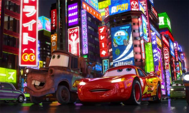 Lighning McQueen in Tokyo in Cars 2