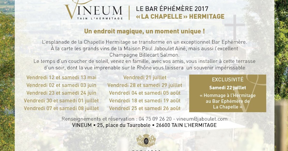 vineum des domaines paul jaboulet a n ouverture du bar eph m re 2017. Black Bedroom Furniture Sets. Home Design Ideas