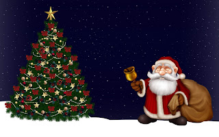 Santa cartoon picture with bell and Christmas tree - 2560x1600