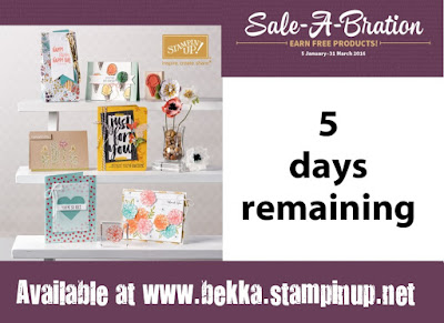 Just 5 days left to grab your free Sale-a-Bration Products and the Mega Value Starter Kit.  Get them here