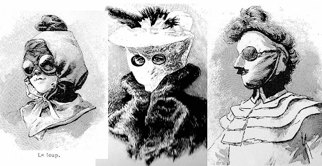 women's 1903 automobile driving masks for protection in cold weather, an illustration