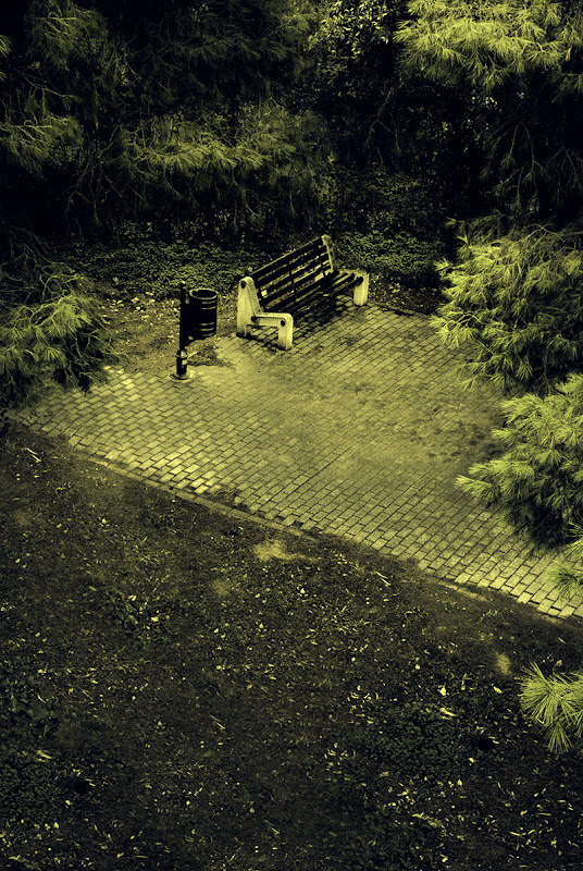 Bench on a Pavement, photograph by Kostas Gogas.
