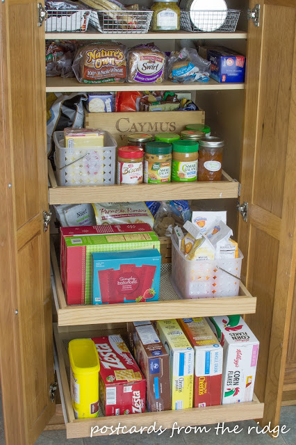 Store cereal boxes on their sides. Many more great kitchen organization ideas.