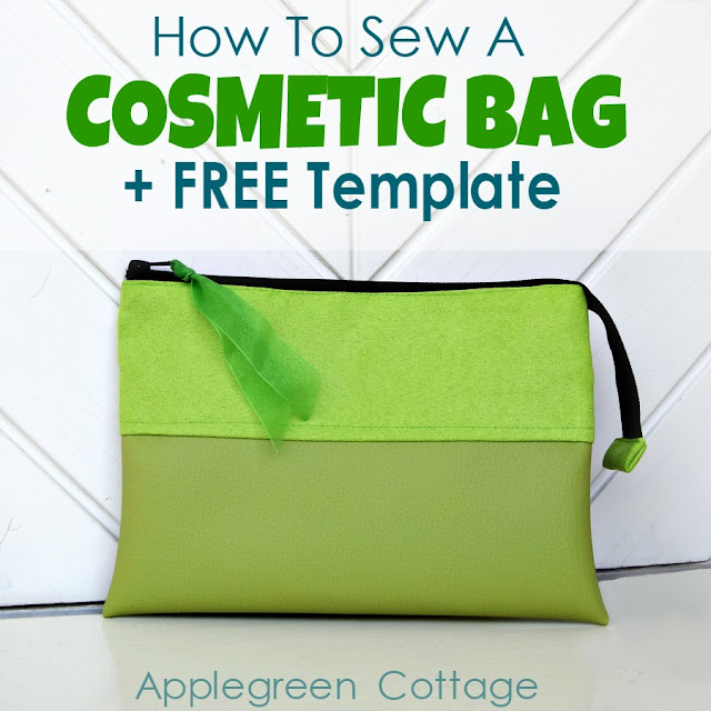 how to sew a cosmetic bag - a beginner sewing project with a free template you can use to make a bag with 4 small internal slip pockets and a main compartment - an easy and simple design you can make fit any style.