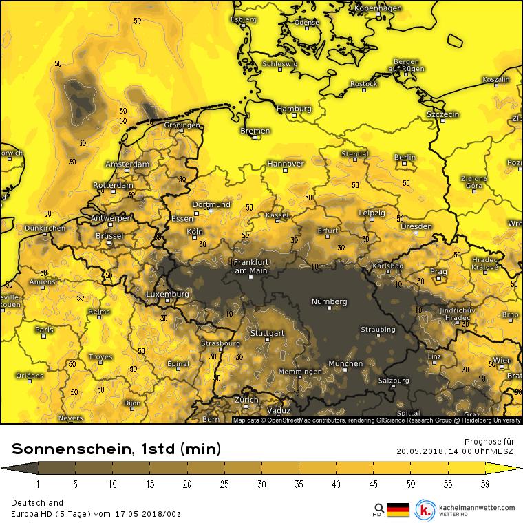Sonnenscheindauer Pfingstsonntag, 16-17 Uhr nach dem Euro HD Vorhersagemodell. Quelle: kachelmannwetter.com
