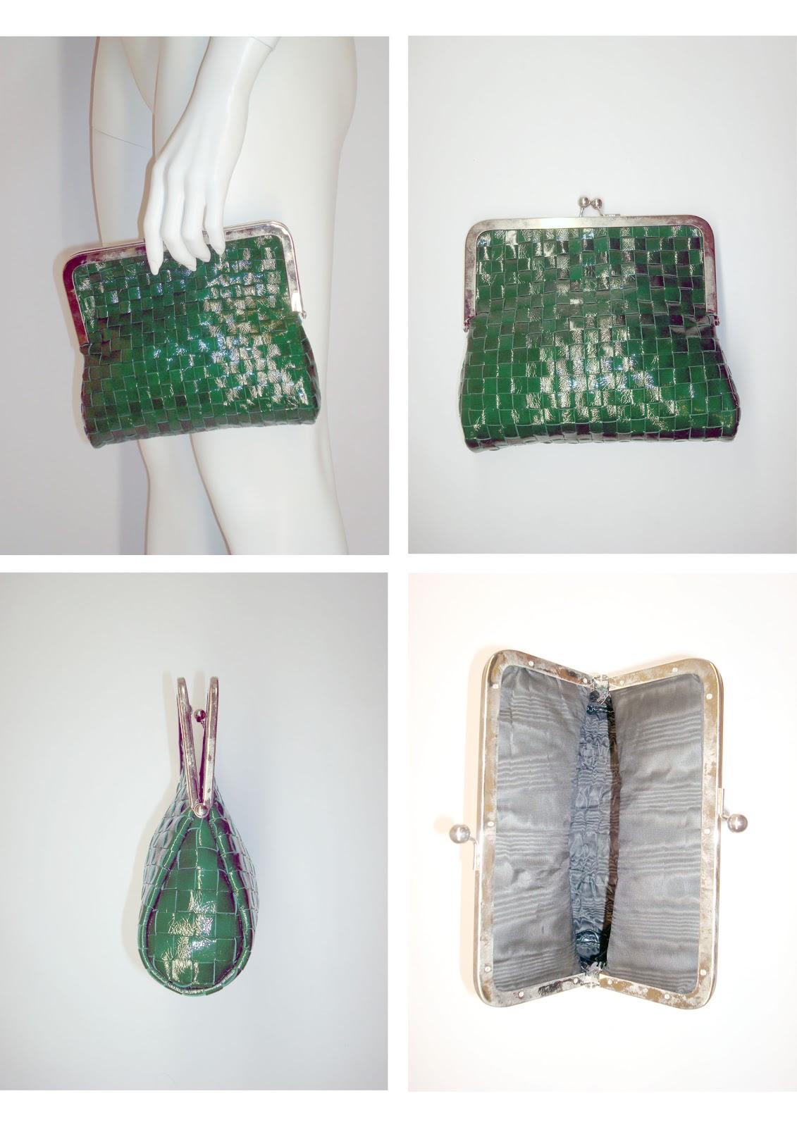 45aba50527 Andrea Pelleterie Artigianali: Pochette intreccio verde (22x20x6)