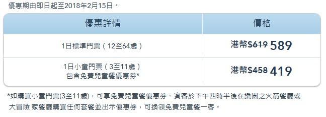 車票 Tickets : 迪士尼樂園 - 香港居民優惠 (2017.12.15-2018.02.15)