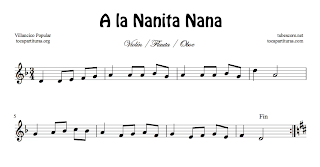 A la Nanita Nana Partitura de Flauta, Violín, Saxofón Alto, Trompeta, Viola, Oboe, Clarinete, Saxo Tenor, Soprano Sax, Trombón, Fliscorno, chelo, Fagot, Barítono, Bombardino, Trompa o corno, Tuba... Villancico