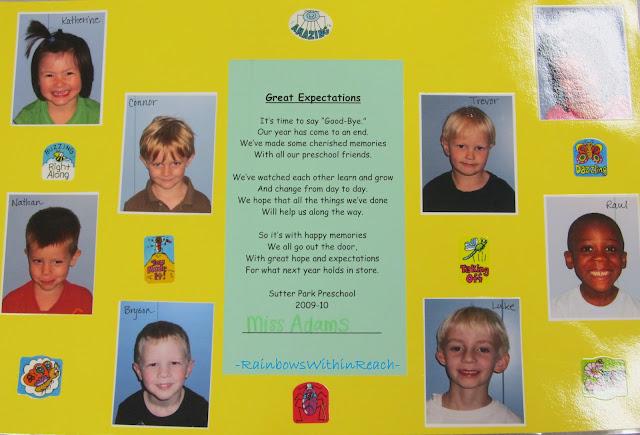 photo of: End of Year Preschool Keepsake and Rhyme