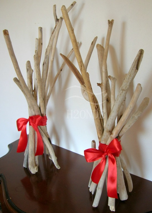 Driftwood Christmas Arrangement with Red Ribbon