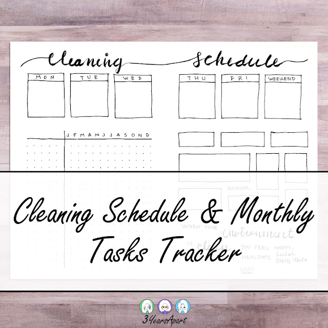 3 Years Apart Cleaning Schedule and Monthly Tasks Bullet Journal Tracker